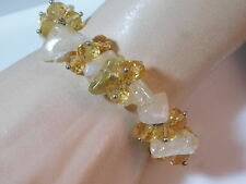 Polished Quartz Golden Yellow Faceted Crystal bead Stretch Bracelet 1a 33