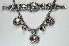 Juliana Necklace Bracelet Set Pink Blue Rhinestones Rhodium 1950s