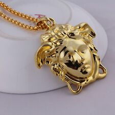 Fashion 18K Gold Plated Medusa Head Hip Hop Unisex Jewelry Long Necklace N37
