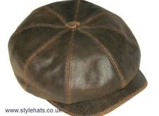 Leather Sheep Skin Baker boy Paper boy Hat CLADWIN BOND HATTERS LONDON XL
