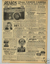 1942 PAPER AD Perfex 35MM Candid Camera Flash Falcon Wollensak Lens Folding