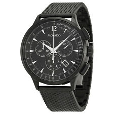 Movado Circa Chronograph Black Dial  Black PVD Mesh Mens Watch 0606804