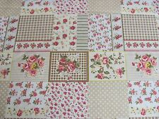 ROSES FLOWER PATCH Beige POLKA DOTS GINGHAM on COTTON FABRIC Priced By The Yard