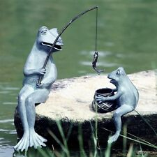 Fishing Frog Mama & Baby Pair Garden Pond Decor Fish Metal Sculpture Statue