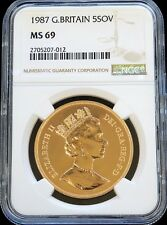 1987 GOLD GREAT BRITAIN 5 POUNDS ST. GEORGE COIN NGC MINT STATE 69