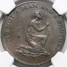 Conder Halfpenny Token, Middlesex, Anti-Slavery, Am I Not a Man D&H 1037, Ngc Xf