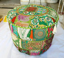 Green  Indian Floor Pouf Ottoman Cover pouffe pouffes Foot Stool Moroccan Pillow