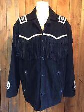 vtg SUEDE tassel FRINGE jacket XL 48 chest BIKER navajo ROCKSTAR native american