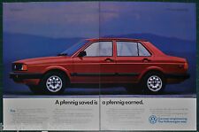 1989 VOLKSWAGEN FOX 2-page advertisement, VW Fox, big photo, save a pfennig