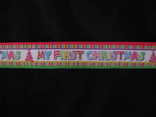 "first 1st christmas grosgrain ribbon 7/8"" per 1 m hair scrapbooking cards"