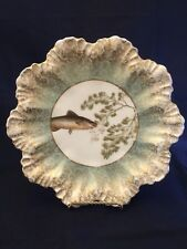 Antique AL Lanternier Depose Limoges Hand painted Fish and Flowers Plate.