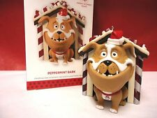 2013 HALLMARK Peppermint Bark Motion activated Dog in doghouse ornament NEW