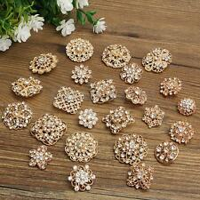 Lot 24 Mixed Retro Gold Rhinestone Crystal Brooches Pins DIY Kit Wedding Bouquet