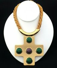 VINTAGE LANVIN PARIS HUGE CROSS STATEMENT PENDANT NECKLACE GOLD-PLATED