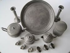Antique Engraved 13pc Chinese Kut Hing Swatow Dragon Pewter Tea Serving Set Rare