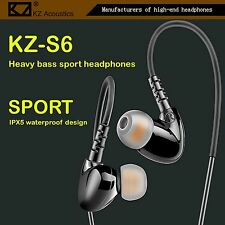 High-End Kopfhörer KZ-S6 Schwarz Pro Sports In-Ear Headphones in PU Hardcase