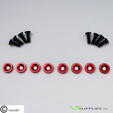 [Logo, Red] M6 Anodized Aluminium Fender Washer Kit for Engine - Black Bolts