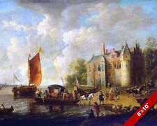 RIVER SIDE CASTLE MANOR DUTCH EMPIRE HISTORY PAINTING ART REAL CANVAS PRINT