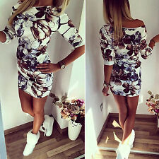 Women Ladies Floral Print Bodycon Mini Dress Cocktail Party Evening Clubwear Top