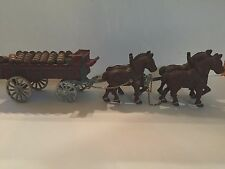Vintage Cast Iron Four Horse Drawn Cart Clydesdale Wagon w/beer kegs