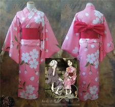 Hotarubi no Mori e Hotaru Takegawa Cosplay Costume White Flower Pink Kimono