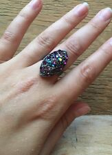 Stunning Vintage Style Rhinestone Dress Ring/Crystal Statement/Cocktail/Purple