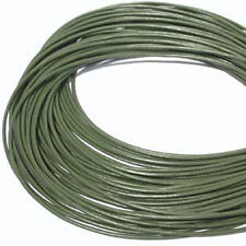 Olive Green 1.5mm Greek Leather Cord 5 meters 41111 Round