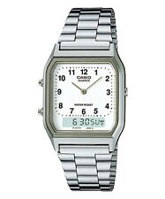 NEW Casio AQ230A-7B Men's Silver Tone Metal Band Analog Digital Dual Time Watch