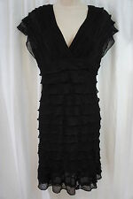 Studio M Petite Dress Sz MP Black Business Cocktail Tiered V Neck Sleeveless