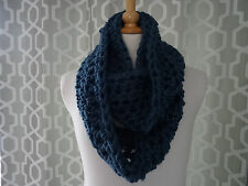 super chunky scarf / snood /  infinity scarf hand crafted crochet airforce blue