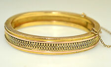 "ANTIQUE VICTORIAN SMALL OVAL GOLD FILLED  FANCY 3/8"" WIDE HINGED BANGLE BRACELET"
