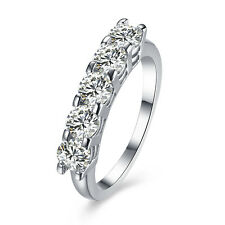AAA Crystal 925 Silver Claw Ring Women Wedding Fashion Jewelry Size 8