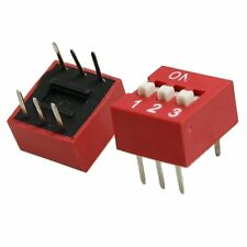 10PCS Red 2.54mm Pitch 3-Bit 3 Positions Ways Slide Type DIP Switch CA NEW