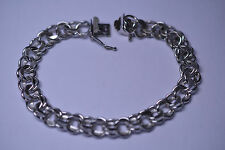 VTG GB HEAVY STERLING SILVER DOUBLE LINK CABLE CHARM BRACELET HIDDEN BOX CLASP