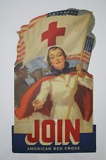 Original 1940s WWII Era Bradshaw Crandell Pinup Advertising Sign - Red Cross