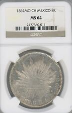 1862-Mo CH Mexico. 8 Reales, KM-377.10   GRADED BY  NGC AS   MS64  --GREAT COIN