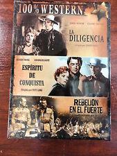 3 DVD (pack nuevo) La Diligencia+Espiritu de Conquista+Rebelion en el Fuerte