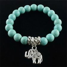 Hot Anti-fatigue Ethnic Elephant Natural Turquoise Beaded Tibet silver Bracelet