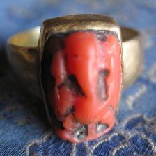 Antique Old Used Tibetan 22 Karat Gold Coral Sri Ganesh Ring, Nepal