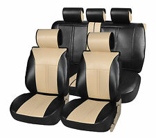 PU Leather Full Car Seat Covers Cushion Compatible to BMW 2099 Black/Tan