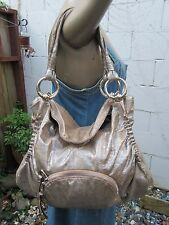 B. MAKOWSKY GOLD CRACKLED LEATHER LARGE SATCHEL BAG PURSE TOTE HANDBAG