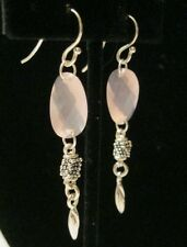 MICHAEL DAWKINS STERLING SILVER ROSE QUARTZ EARRINGS NEW