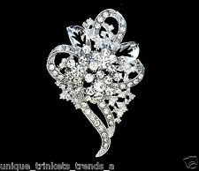 VINTAGE STYLE WHITE FLOWER FLORAL RHINESTONE BROOCH PIN~EASTER GIFT FOR WOMEN