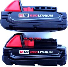 (2) New GENUINE M18 Milwaukee 48-11-1815 Compact Batteries 18 Volt Red Lithium