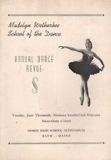 Bath Maine ME Vintage Program Annual Dance Review Madelyn Wetherbee School 1961