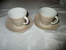 2 LSA International Poland Stone Porcelain Ribbed Espresso Coffee Cups Saucers