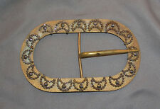 Large Antique Victorian Gilt Buckle with Steel Cut Crescent Moon Decoration