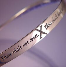 10 Commandments Bracelet Bangle Inspirational Message STERLING SILVER God Shalt