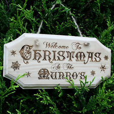 WELCOME TO CHRISTMAS AT THE sign personalised door plaque wood wall art wooden
