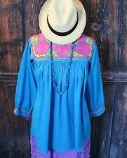 Blue, Gold & Pink, Hand Embroidered Blouse Mayan, Chiapas Mexico Peasant Hippie